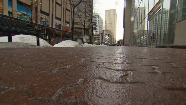 A layer of ice glistens on a path in Edmonton on Thursday.
