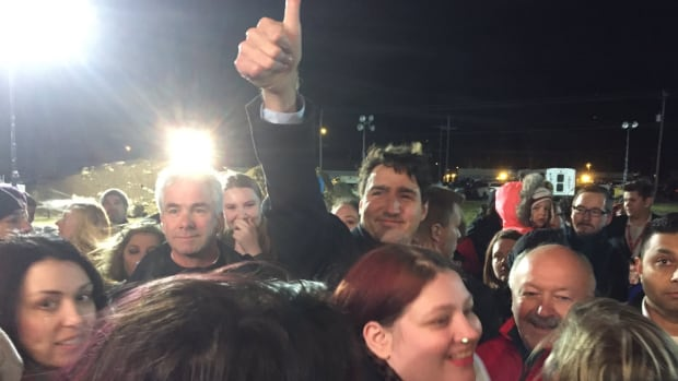 Justin Trudeau was in Clarenville to give Liberal candidate Churence Rogers the thumbs up.