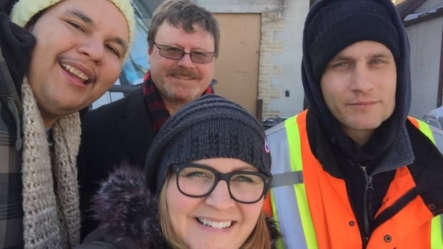 CBC Information Radio host Marcy Markusa went on a ride-along with Sscope employees Evan Fontaine (left), Bryan Hall and Joe Addison, to find out more about the non-profit peer-support work program.