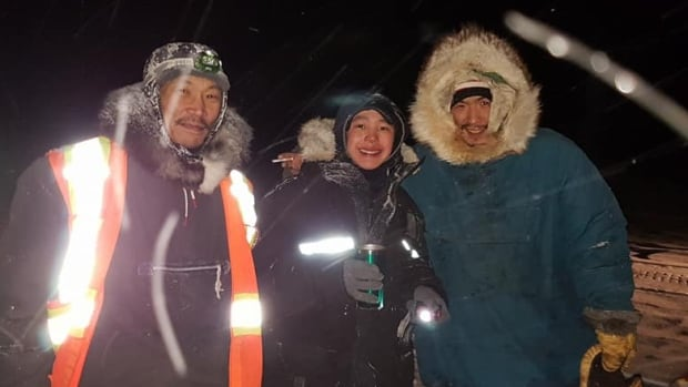 Mark Qulitalik, centre, and his cousin Paul Sr. Qulitalik, right, were reported missing after they left Igloolik for Hall Beach, Nunavut on Nov. 19.