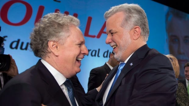 Several times during his tenure as Liberal leader, Philippe Couillard, right, has had to distance himself from his predecessor, Jean Charest, left.