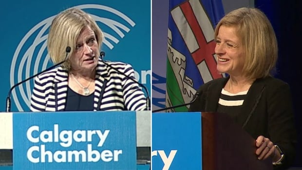 Alberta Premier Rachel Notley received an icy reception, left, when she addressed the Calgary Chamber in 2015. Two years later, Notley was all smiles as she earned a standing ovation at the end of her speech to the same group.
