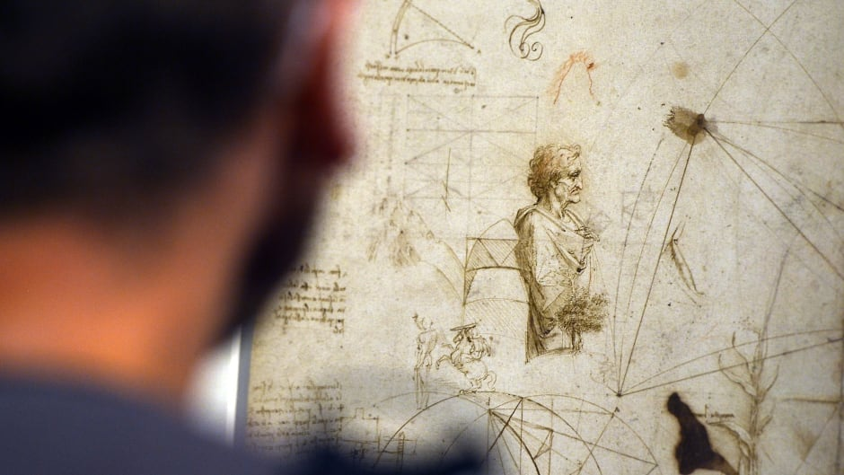 All-around genius, famous doodler, procrastinator?  A drawing by Leonardo da Vinci, on display in Venice, Italy, in 2013.