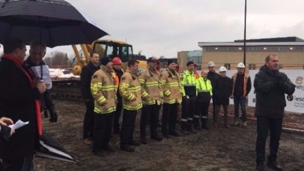 Groundbreaking ceremony for the community energy park microgrid in North Bay, Ont. The project will provide energy to the YMCA, the Aquatic Centre and the Memorial Gardens arena.