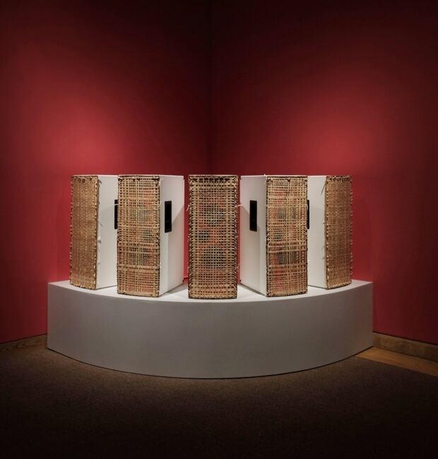 Custom made speakers at Mi'kmaq exhibit in New York