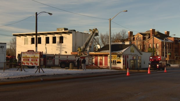 Fire damaged the building the Burger Baron building, home to the Calico Baking Company, at 111th Avenue and 95th Street on Saturday.