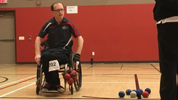 Mike Mercer surveys the situation before a shot in a semifinal game at the boccia provincial championships in St. John's on Sunday.