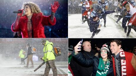 Shania Twain, Justin Trudeau and snow blower at Grey Cup
