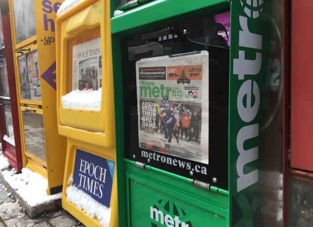 Metro Ottawa newspaper box November 27 2017
