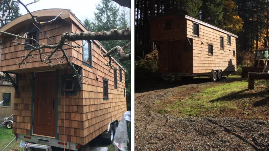 Brian MacAllister, a woodworker on Saltspring Island, B.C., built his own tiny home.