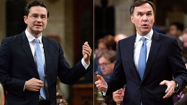 Conservative finance critic Pierre Poilievre, left, and Finance Minister Bill Morneau's battle over perceived ethical violations continues to dominate the political landscape in Ottawa.