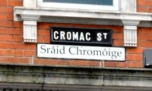 Street sign in Irish and English in Belfast