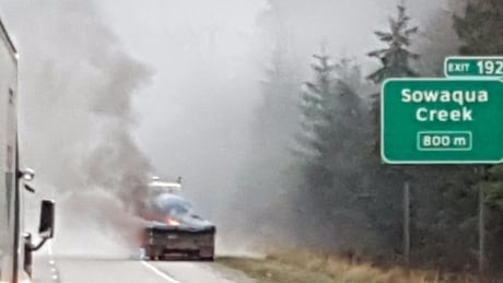 Semi burning coquihalla highway