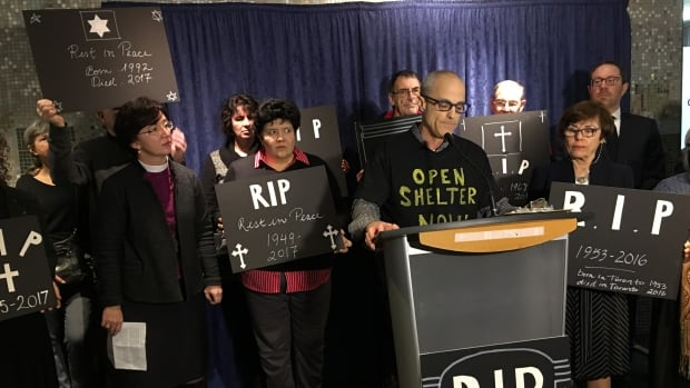 The Interfaith Coalition to Fight Homelessness is demanding that the city declare an emergency and open 400 more shelter beds. 'It's up to you, Mayor Tory. Stop. These. Homeless. Deaths. Now,' said Rafi Aaron, as he stood at the podium.