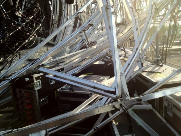 Collapsed stage scaffolding