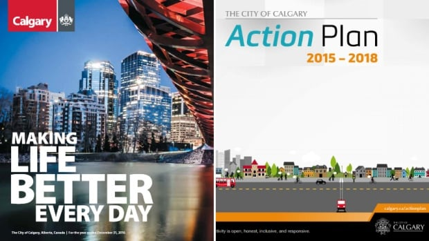 The City of Calgary uses different accounting methods in its annual reports, left, than in its budget documents, right, which is one of several issues the C.D. Howe Institute raised in a report on clarity in financial reporting.