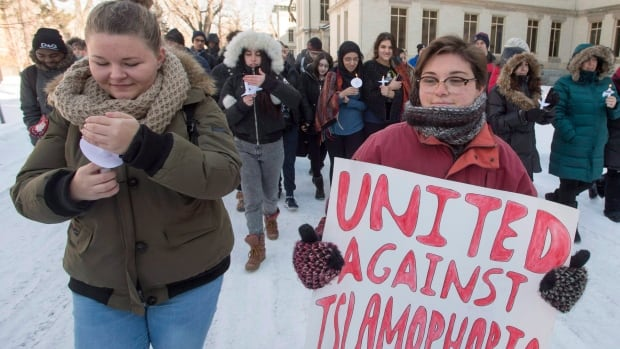 Montreal students held a rally against Islamophobia after last year's mosque shooting in Quebec City.