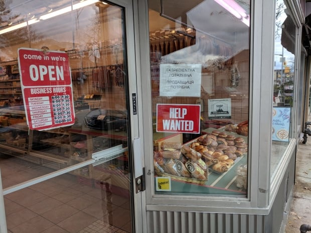 Bloor Street bakery help wanted sign