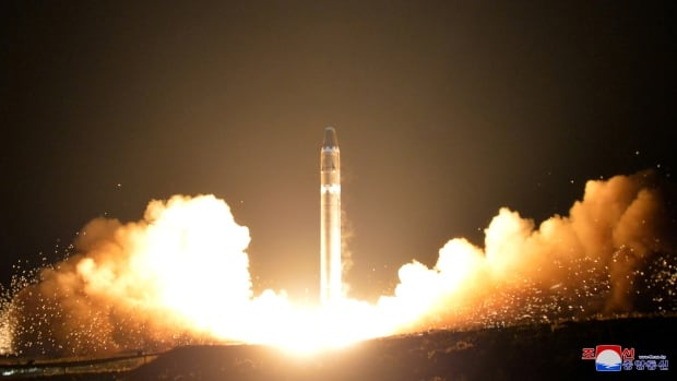 An image released by the Korean Central News Agency (KCNA) that is said to be the intercontinental ballistic missile Hwasong-15's test in Pyongyang, North Korea, on November 30, 2017.