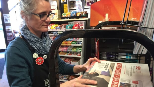Michele Gerard, owner of Atlantic News in Halifax, has reached an arrangement with the Globe and Mail to load a stack of newspapers onto an Air Canada plane and have it flown out east.