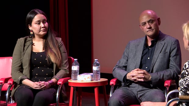 Janelle Pewapsconias and Serhij Koroliuk were two of the featured guests at a CBC Saskatoon event on cultural appropriation at the Broadway Theatre Wednesday.