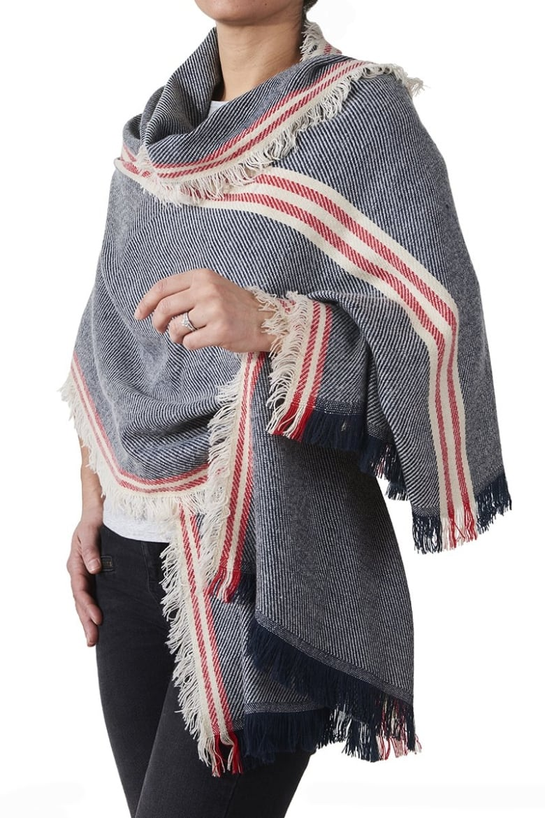 dc2d6ddc7fa39 Take your blanket scarf and turn it into a sophisticated-looking wrap. Drape  one end over one shoulder with enough length to hang to at least your hip.