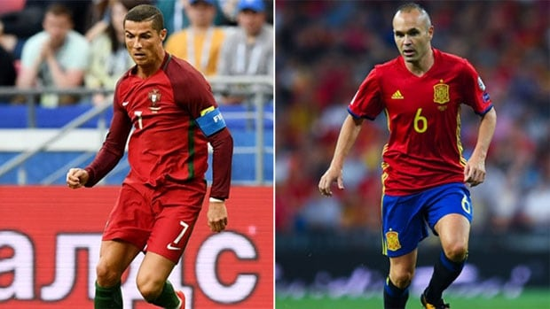 Portugal's Cristiano Ronaldo of Real Madrid, left, and Spain's Andrés Iniesta of FC Barcelona, right, will square of when the nations meet in the group stage at the 2018 FIFA World Cup.