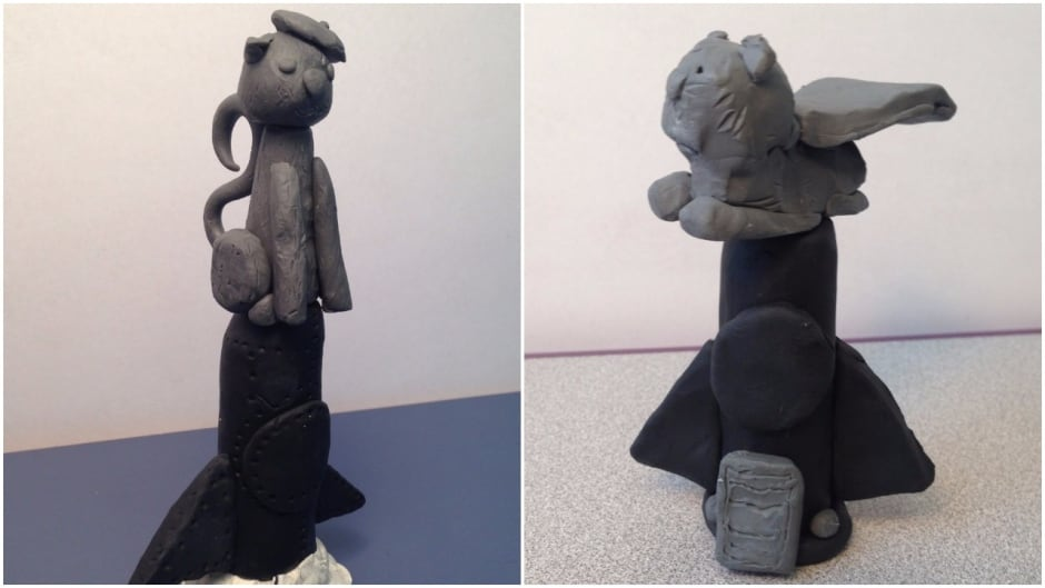 Students at Christ the King Elementary School in Whitehorse designed statues in honour of Félicette, the first cat in space, after their teacher learned about the underappreciated kitty on As It Happens. The beret-wearing cat was created by student Jerome. The caped kitty is by Ethan.