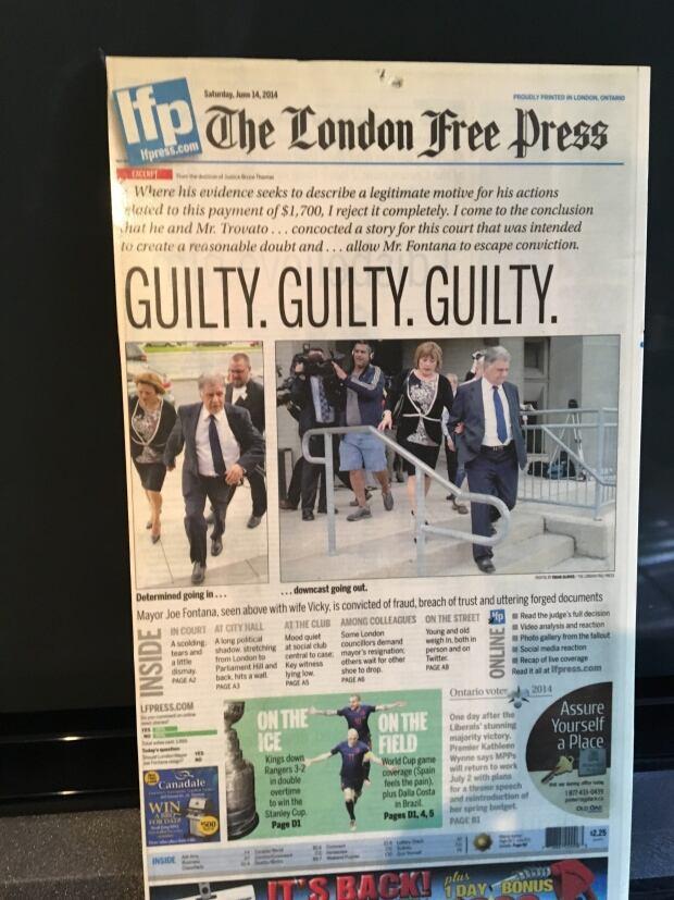 London Free Press print newspaper report of Joe Fontana guilty verdict