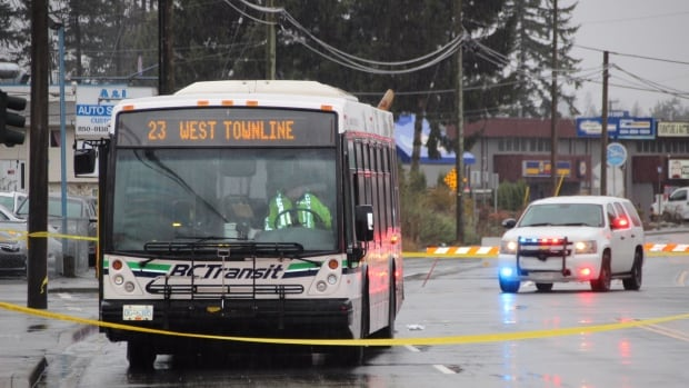 A girl has died in hospital after being struck by this transit bus in Abbotsford, B.C., say police.