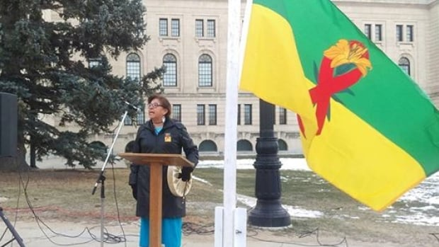 All Nations Hope Network CEO Margaret Poitras at the Saskatchewan Legislative Building for the World AIDS Day flag raising ceremony. Dec. 1, 2017