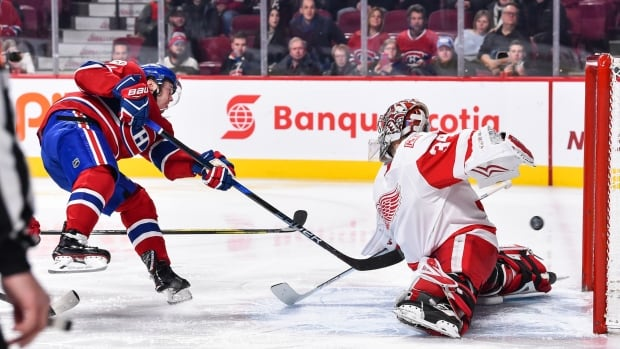 No fewer than 14 Montreal Canadiens got their names on the scoresheet in Saturday's 10-1 rout of the Detroit Red Wings, including Paul Byron's first NHL hat trick.