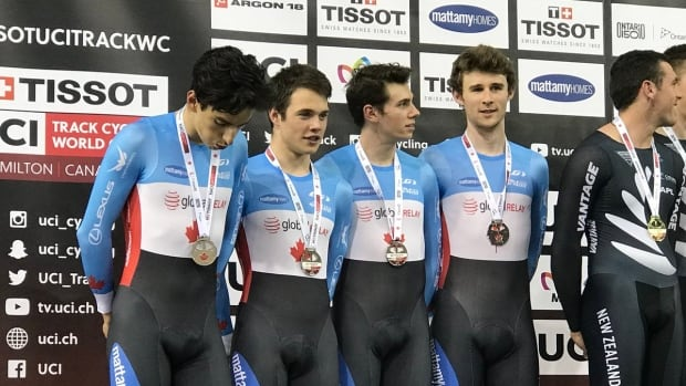 Jay Lamoureuz, Michael Foley, Derek Gee and Adam Jamieson won silver for Canada at the cycling World Cup in Milton, Ont. on Sunday. Earlier in the day the quartet set a new Canadian record of 3.58.359 en route to the podium.
