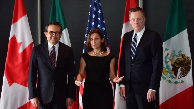 Minister of Foreign Affairs Chrystia Freeland shown here with Mexico's Secretary of Economy Ildefonso Guajardo, left, and Ambassador Robert E. Lighthizer, USTR, during the final day of the third round of NAFTA negotiations.