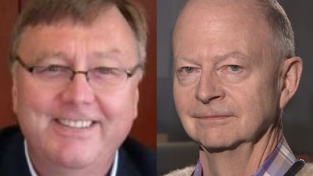Former Labrador-Grenfell regional health board CEO Tony Wakeham, left, will announce Tuesday that he will compete to become the next leader of the Progressive Conservative Party of Newfoundland and Labrador. St. John's lawyer Ches Crosbie is also seeking the position.
