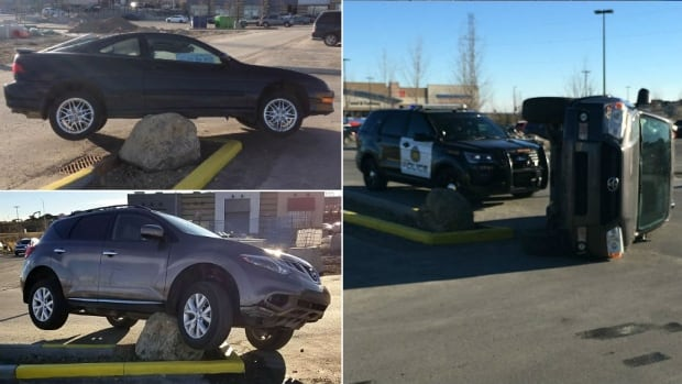 At least three vehicles have hit the rock since Friday, according to Sage Hill residents who documented the collisions.