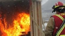 Corner Brook mock living room flames