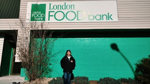 Wendy McClintic in front of Food Bank