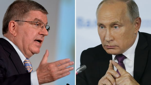 IOC President Thomas Bach, left, was part of the executive board that suspended Russia from the 2018 Winter Olympics, but is allowing athletes to compete as neutrals.  Russian President Vladimir Putin, right, has previously said his country would boycott the Olympics if such a sanction was imposed.