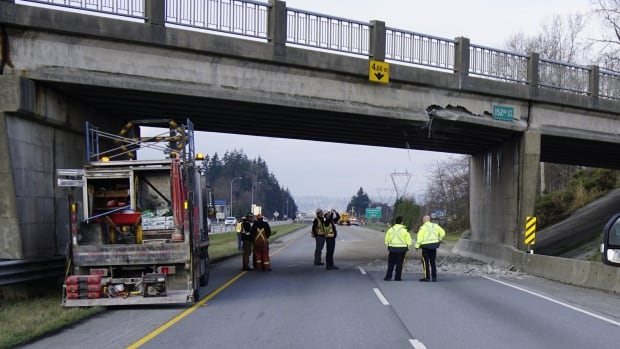 RCMP and Ministry of Transportation officials were on scene assessing the structural integrity of the overpass on Monday afternoon.