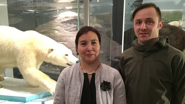 Sandra Inutiq, QIA's chief negotiator for the Tallurutiup Imanga Inuit Impact and Benefit Agreement and Stephen Williamson-Bathory, QIA's director of major projects.