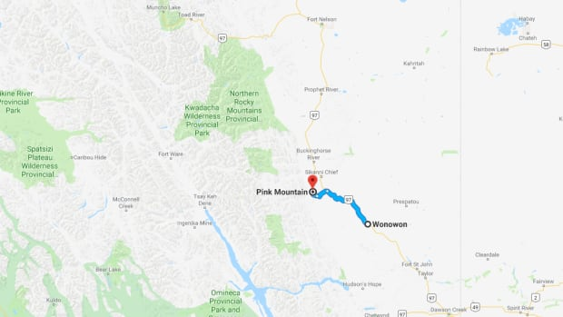 According to the Drive B.C. website, Highway 97 was closed in both directions Tuesday morning between Wonowon (kilometre 161) and Pink Mountain, south of Yukon. One lane had opened to alternating traffic by afternoon.