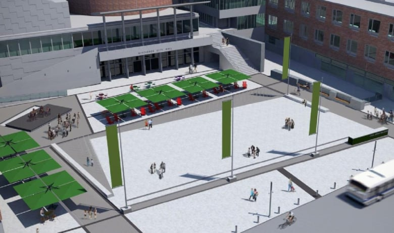 Carl zehr square will get 5 5m redesign cbc news for Pool design kitchener