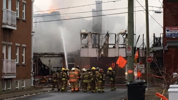 About 50 firefighters were called to the scene of the fire early Tuesday morning. Only parts of the former dairy remain.