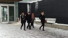 Thunder Bay police chief J.P Levesque walking out of court