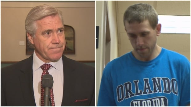 A judge partially lifted an injunction Newfoundland and Labrador Premier Dwight Ball, left, had won prohibiting publication of a story related to the Brandon Phillips, right, murder trial.