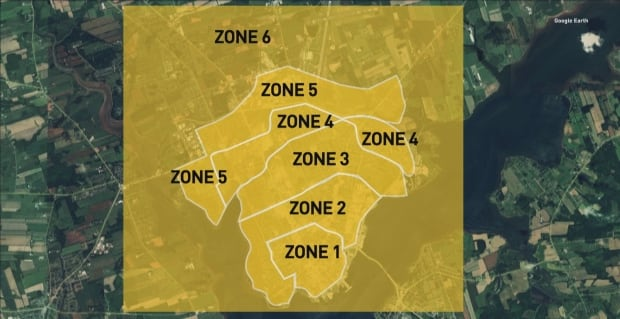 Taxi zones in Charlottetown