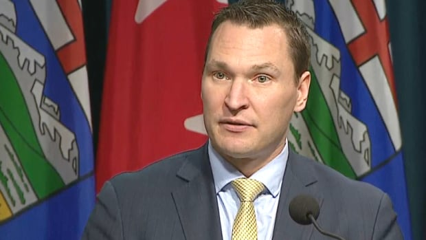 Deron Bilous, Alberta's minister of economic development and trade, announces nearly $1.4 billion in funding for a host of measures aimed at fostering innovation and reducing the carbon-emitting intensity of the province's major industries.