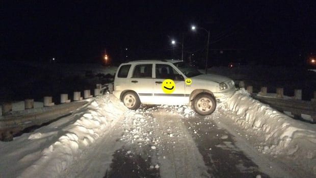 A 21-year-old man was arrested after allegedly committing a series of crimes Sunday night — from armed robbery to drunk driving a City of Iqaluit vehicle. The resident who posted this photo on Facebook blurred out the City of Iqaluit logo with a smiley face.