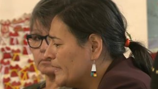 Michèle Audette, one of the commissioners with the national inquiry into murdered and missing Indigenous women and girls, speaks during a hearing in Thunder Bay, Ont. on Tuesday.